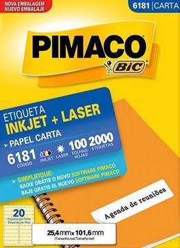 Imagem de ETIQUETA INKJET/LASER 100F 2000UN 6181(20)25,4X 101,6 PIMACO