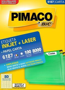Imagem de ETIQUETA INKJET/LASER 100F 8000UN 6187(80)12,7X44,45 PIMACO